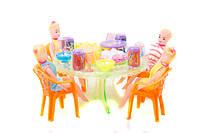 Набор игрушечной мебели a8-55 с куклами и посудой под слюдой 23*17см