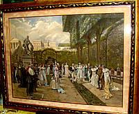 """Литография  """"Выход Наполеона с Жозефиной в императорской резиденции Компьень"""" 1899 г."""