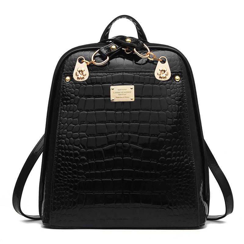 fc85905836a1 Сумка рюкзак женская лаковая под рептилию (черная) - Интернет-магазин  «VINGO»