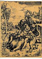 Ксилография «Самсон убивает льва»  Альбрехт Дюрер