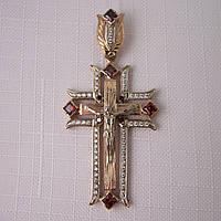 Крест золотая подвеска 585* с цирконами (арт. ДКР 48), фото 1
