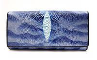 Стильный женский кошелек высокого качества в синих тонах с внутренней монетницей имитирующий кожу ската(12520)