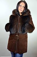 Замшевая куртка с мехом лисы, коричневая
