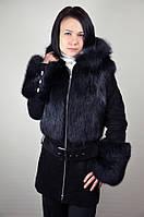Замшевая куртка с мехом лисы, черная