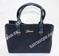 Замшевая женская сумочка синего цвета