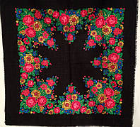 Платок шаль с яркими цветами,  95х95см, шерсть