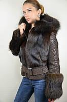 Куртка из меха лисы и замши с лазерным напылением