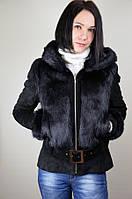 Замшевая куртка с мехом кролика, черная