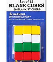 Набор кубиков-бланков d6 16 мм (с наклейками), 12 шт  (Blank dice set d6 16 mm with stickers)