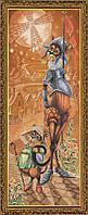 Набор для вышивания нитками на канве с фоновым рисунком Дон Ки Кот и Санчо  СР 6140
