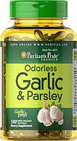 Чеснок и петрушка Puritan's PrideOdorless Garlic & Parsley 500 mg / 100 mg  100softgels