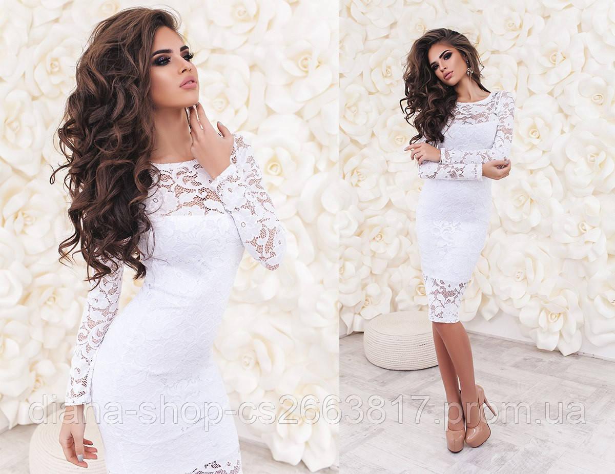 Женское вечернее платье из гипюра белого цвета - Bigl.ua 7d8cfc6758e8a