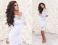 Женское вечернее платье из гипюра белого цвета