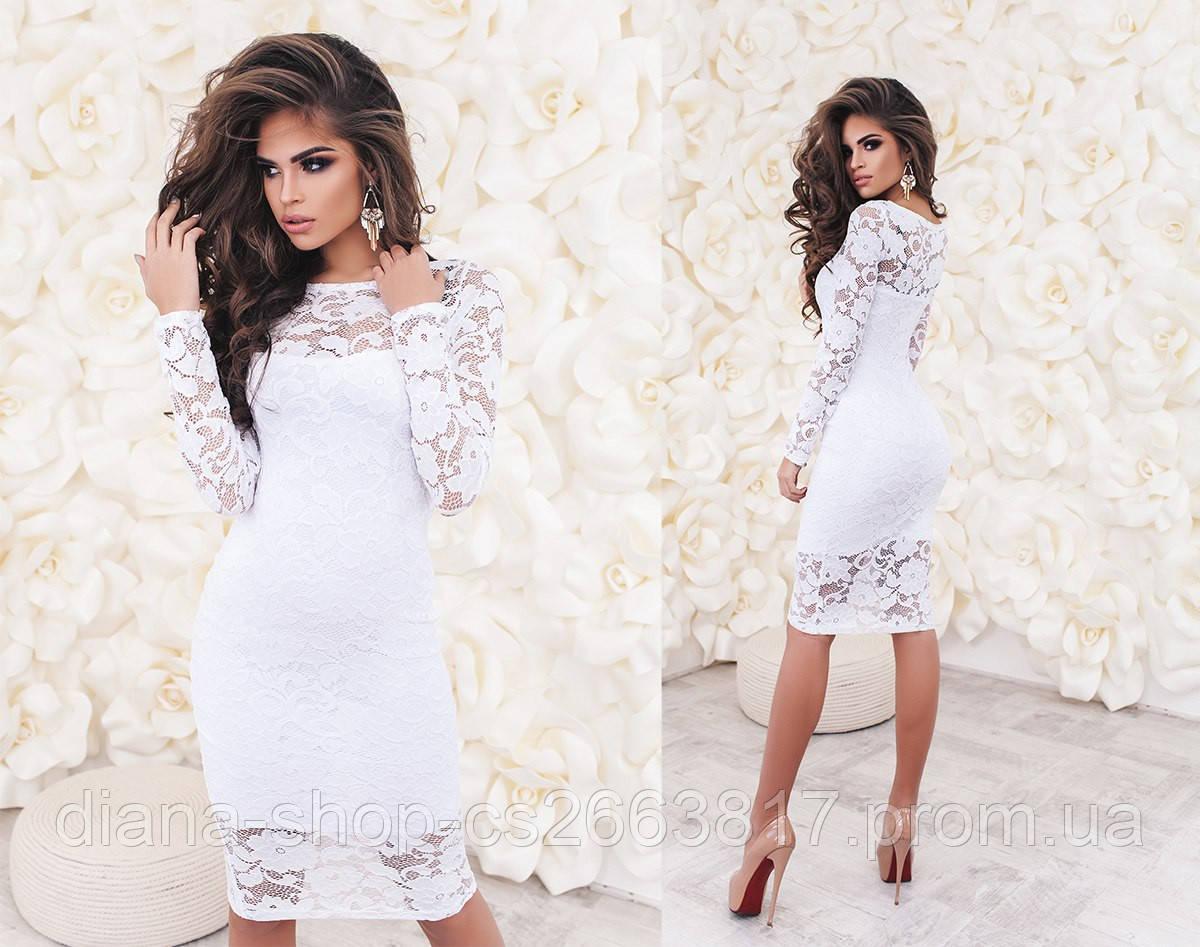 Женское вечернее платье из гипюра белого цвета a0ad46ff5d9c2