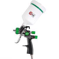 LVLP GREEN NEW Профессиональный краскораспылитель 1,3 мм, верхний пластиковый бачок 600 мл.INTERTOOL PT-0132
