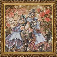 Набор для вышивания нитками на канве с фоновым рисунком Дружное семейство СР 1144