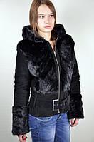 Замшевая куртка с мехом норки, черная