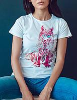 """Женская футболка """"Цветной волк"""""""