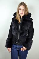 Замшевая куртка с мехом ондатры, черная