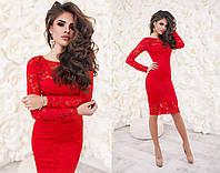 Женское вечернее платье из гипюра красного цвета