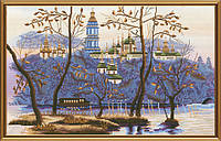 Набор для вышивания нитками на канве с фоновым рисунком Вечерний Киев СР 2194