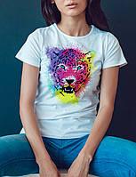 """Женская футболка """"Цветной леопард"""""""