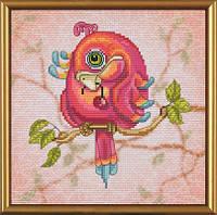 Набор для вышивания нитками на канве с фоновым рисунком Попугайчик СВ 5553