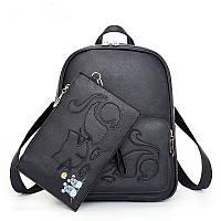 Рюкзак женский кожаный Кот с клатчем, фото 1