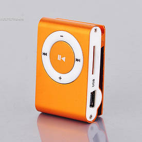 MP3 плеер алюминиевый Клипса + Наушники +USB переходник orange (оранжевый)
