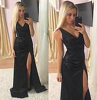 Женское нарядное атласное платье в пол (2 цвета)