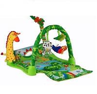 Развивающий коврик для младенца 3059 Тропический лес, жираф, пальма, дуга с подвесками, музыка, 0+