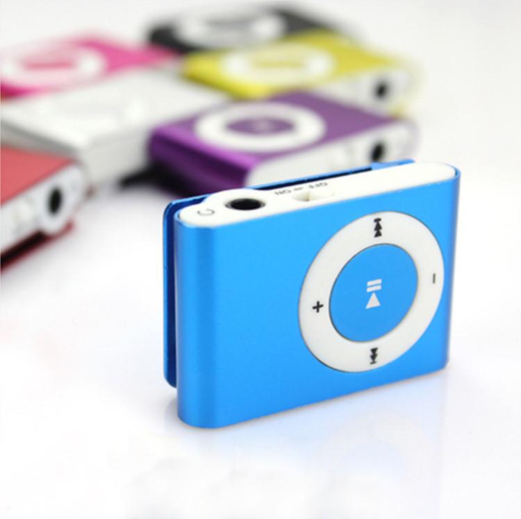 MP3 плеєр алюмінієвий Кліпса + Навушники +перехідник USB blue (синій)