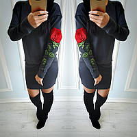 Стильное платье из ангоры в сером цвете