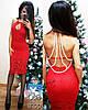 Женское модное гипюровое платье с жемчужными лентами (3 цвета)