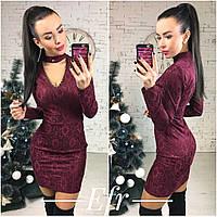 Классное бордовое  гипюровое платье, сзади молния. Арт-8667/70