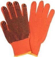 Перчатки трикотажнi ХБ, помаранч. колiр,чорна ПВХ крапка на 1й сторонi, оверлок на манжетi жовтого колеру