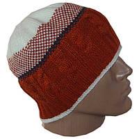 Вязаная мужская шапка на подкладке с бортиком в этническом стиле