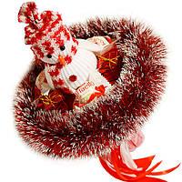 Букет из мягких игрушек Снеговик с конфетами Raffaello