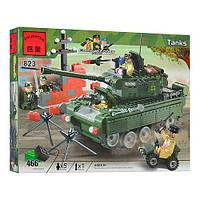 Конструктор Brick Танк 823, 466 деталей, ракетная установка, башня поворачивается, зеленый