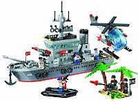 Конструктор Enlighten Brick 820 Военный корабль, 614 деталей, 7 фигурок, ракеты, катер, вертолет
