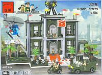 Детский конструктор Брик 825 «Штаб-квартира», 1048 деталей, 11 фигурок, вертолет, авто, мотоцикл