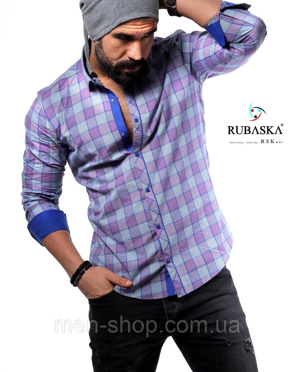 Мужская рубашка фиолетового цвета в клетку