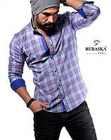 Мужская рубашка фиолетового цвета в клетку, фото 1