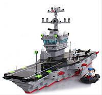 Конструктор Брик Авианосец 826, 580 деталей, 2 мини-фигурки, 4 самолета, шлюпка, ракеты