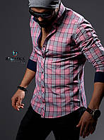 Мужская рубашка розового цвета в клетку, фото 1