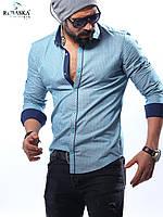 Мужская рубашка голубого цвета в мелкую клетку, фото 1