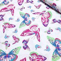 Хлопковая ткань  с малиново- бирюзовыми бабочками №381