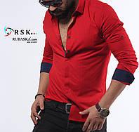 Мужская рубашка красного цвета, в мелкий горошек, фото 1