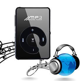 Зеркальный MP3 плеер Клипса + Наушники +USB переходник black (черный)