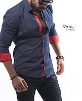 Качественная мужская рубашка черного цвета, в мелкий горошек, фото 1